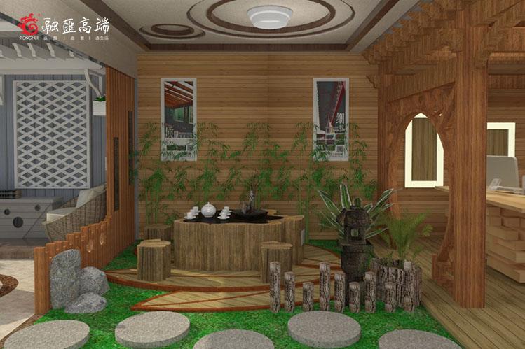 户外庭院装修设计运用防腐木元素的效果